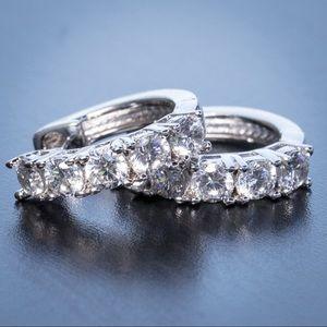Mens 925 Sterling Silver Diamond Hoop earrings
